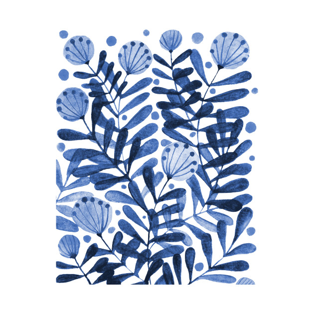 Flowers and foliage - blue