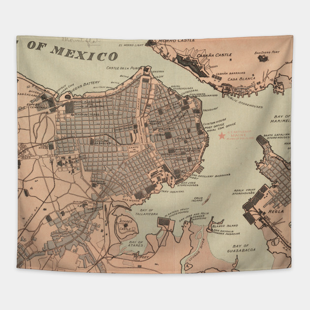 Vintage Map Of Havana Cuba Havana Map Tapestry TeePublic - Vintage map of cuba