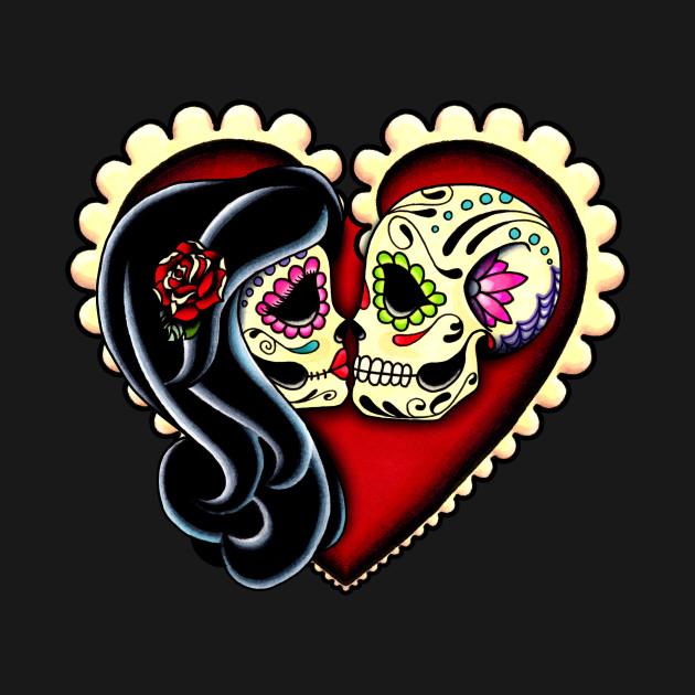 Ashes - Dia de los Muertos Couple - Day of the Dead Sugar Skull Lovers