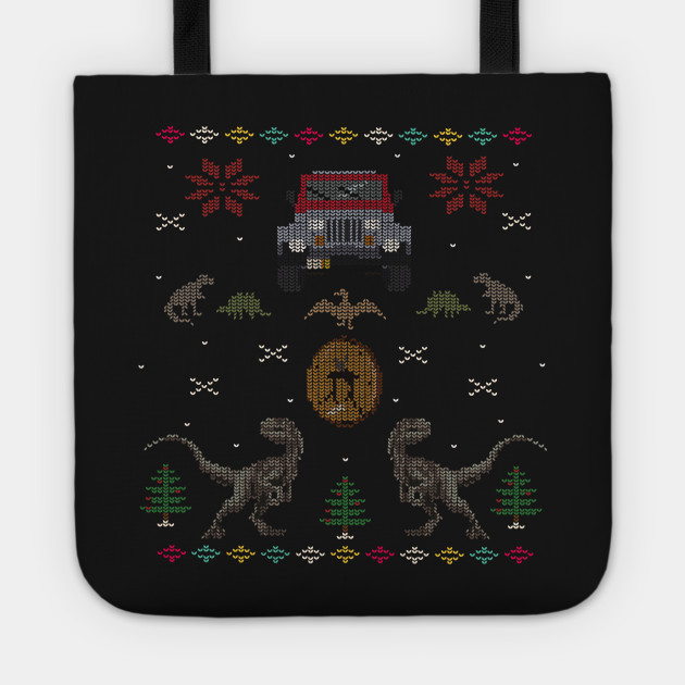Ugly Jurassic Christmas Sweater Jurassic Park Tote Teepublic