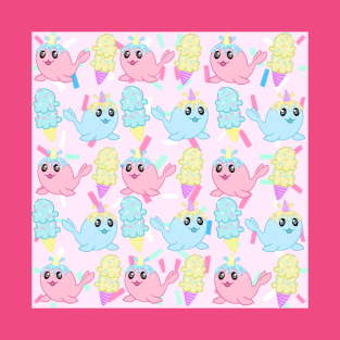 Narwhal Pink Pattern t-shirts