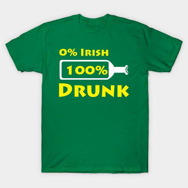 0/% Irish 100/% Drunk Adult Mens T-Shirt St Patrick/'s Day