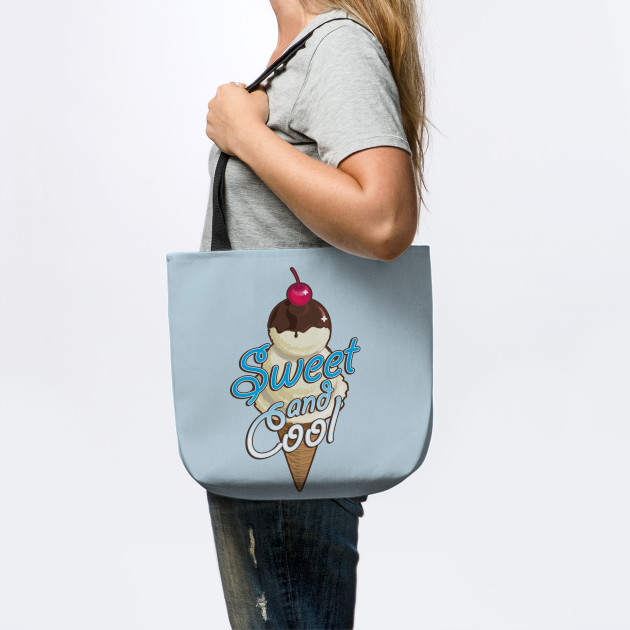 Sweet and cool ice cream cone with light blue
