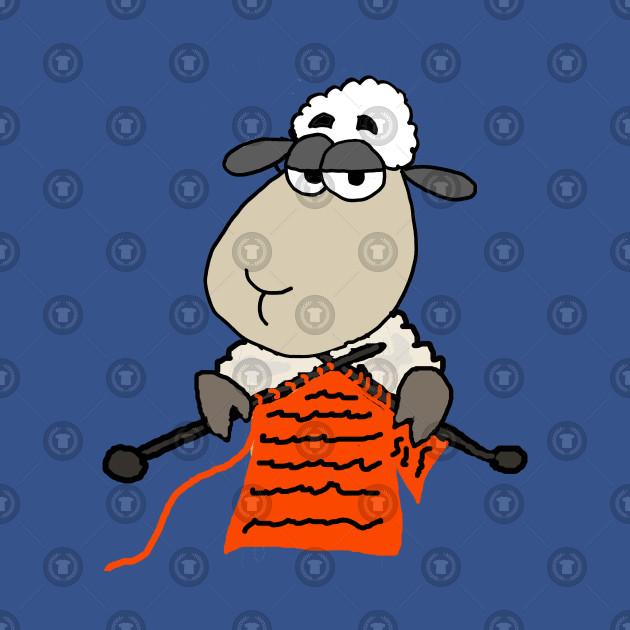 Funny Sheep Knitting Cartoon