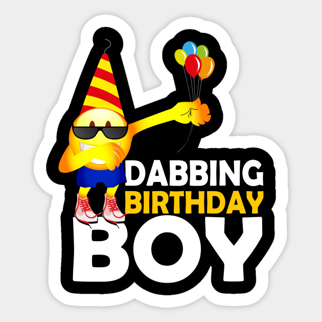 DABBING Emoji Birthday Shirt For Boys Sticker