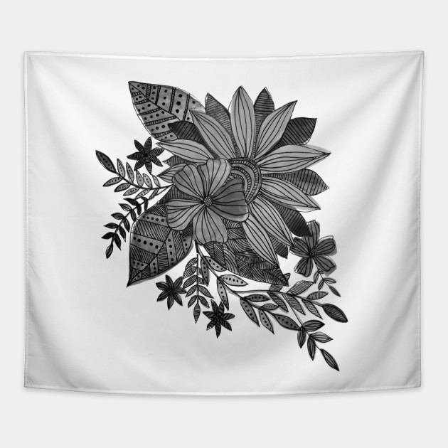 Watercolor Sunflowers Black And White Watercolors Tapestry