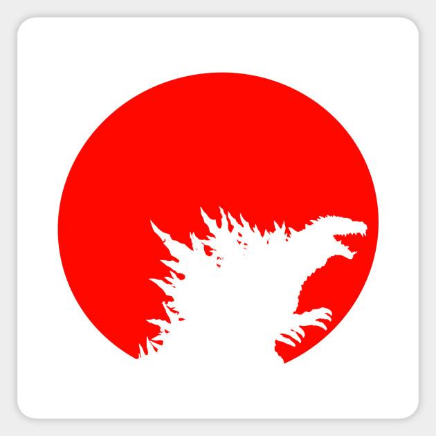 Godzilla Rising Sun Godzilla Sticker Teepublic