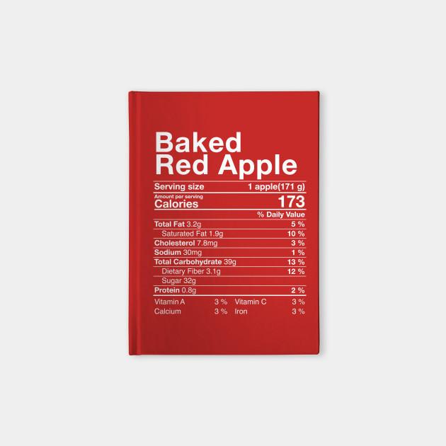 Red Baked Apples Nutritional Facts Thanksgiving Turkey Day Nutritional Facts Notebook Teepublic