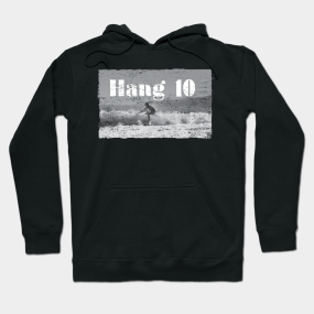 f834e0fd3 Hang 10 Surfer Riding Wave Retro Distressed Hoodie