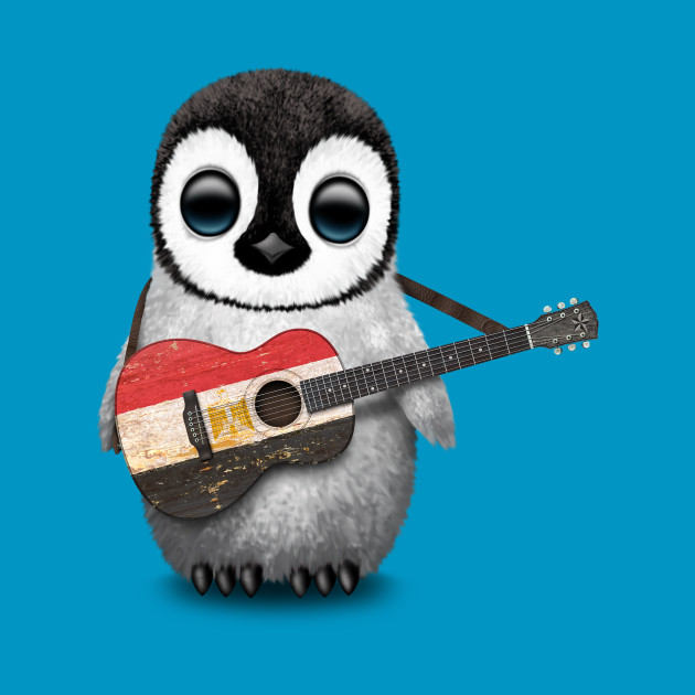 Baby Penguin Playing Egyptian Flag Guitar