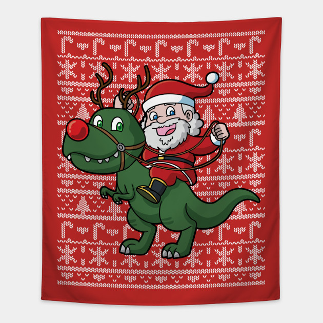 T Rex Ugly Christmas Sweater.Santa Claus T Rex Ugly Christmas Sweater