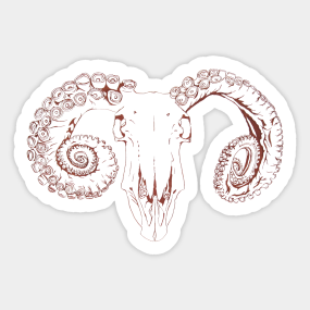 Ram Skull Stickers | TeePublic