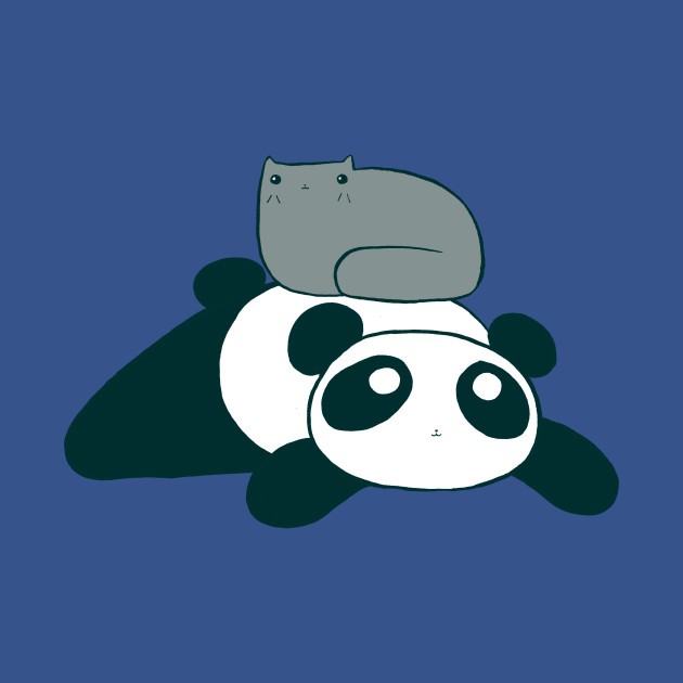 Panda and Gray Cat