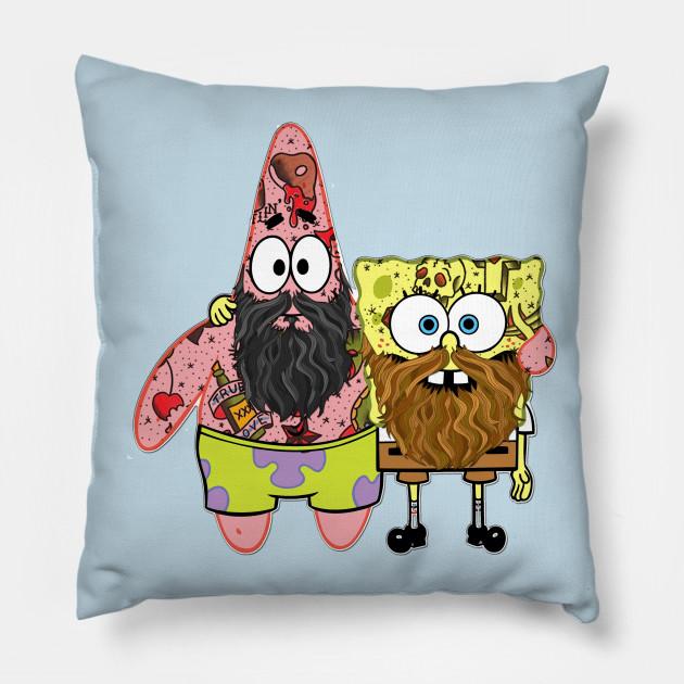 spongebob and patrick spongebob squarepants pillow teepublic