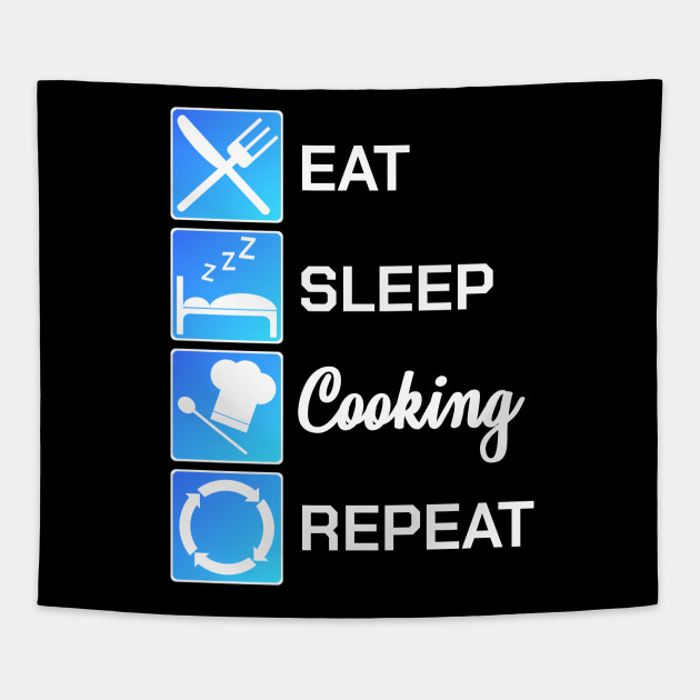 Funny Chef Gift Eat Sleep Cook Repeat Culinary Art by tough_stuff