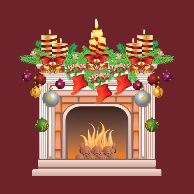 Christmas Fire Place Images.Decorated Christmas Fireplace