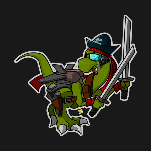 Ninja space pirate dinosaur with two Katanas