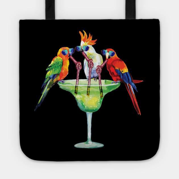 Parrots Drinking Margarita Hawaiian Vacation Birds