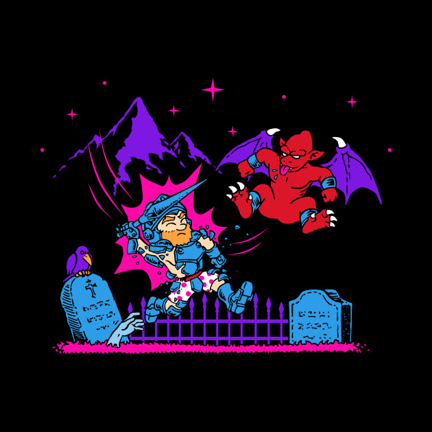 Ghost/'n Goblins Arthur In The Graveyard Capcom Video Game Adult T Shirt