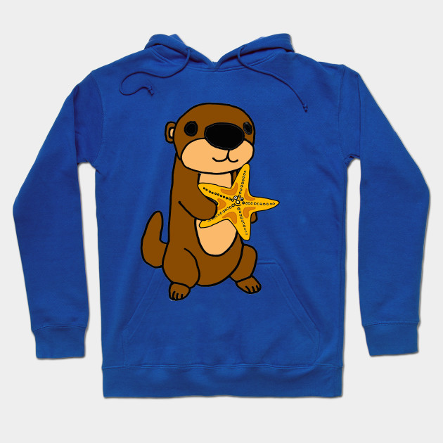 920465776 Cute Baby Sea Otter with Starfish Cartoon - Sea Otter - Hoodie ...