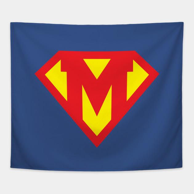 Letter M Superhero Symbol Superhero Tapestry Teepublic