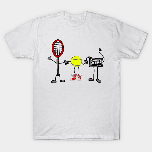 ddf296809 Funny Tennis Racket, Net, and Ball Cartoon Characters - Tennis - T ...