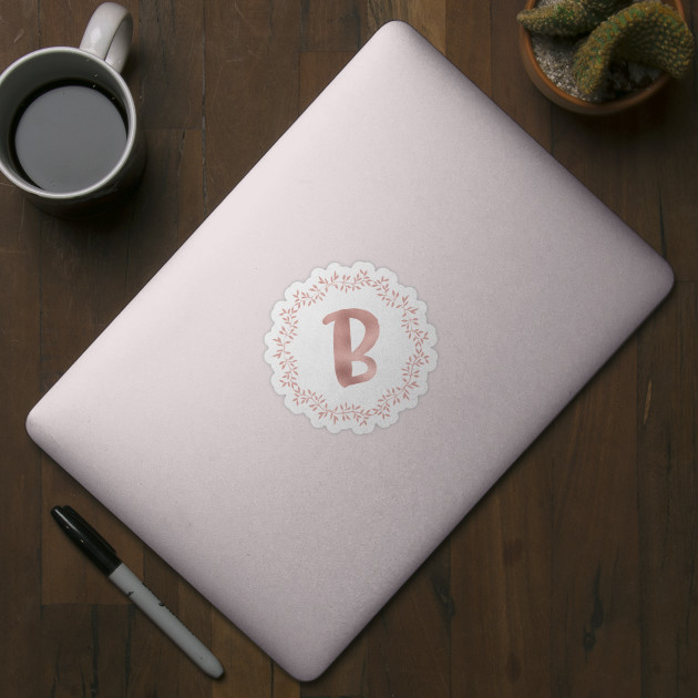Rose Gold Monogram B - Pink Letter B