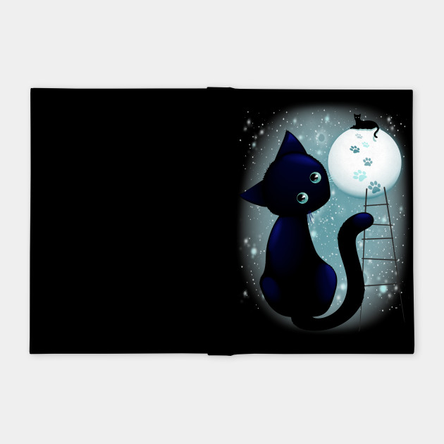 Blue Kitty Dream on the Moon