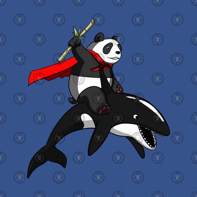 Orca Whale Cartoon Panda Bear Ridi...
