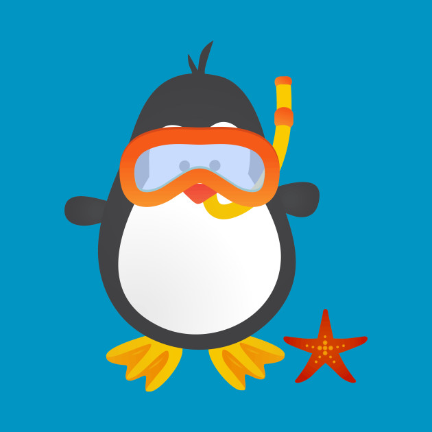 Cute Snorkeling Penguin with Starfish