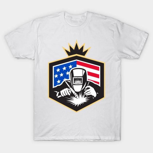 Welder arc welding usa flag crest retro welder arc for T shirt design usa
