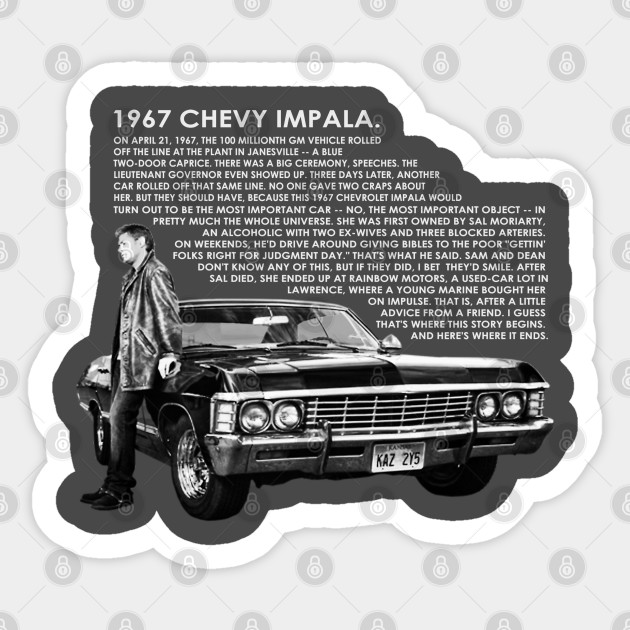 1967 Chevy Impala Dean Winchester Supernatural Sticker Teepublic Au