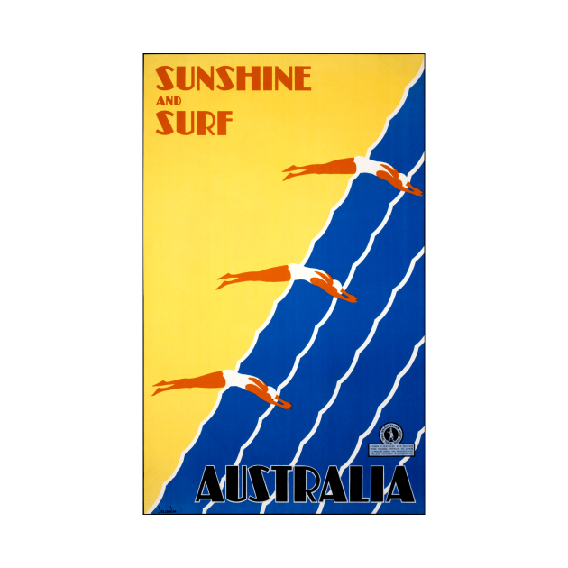 Vintage Travel Poster  Sunshine and Surf Australia