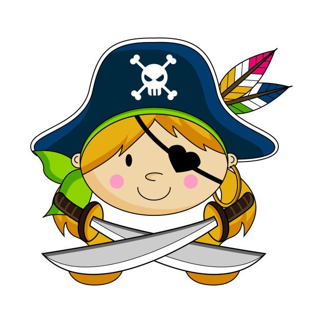 Cute Cartoon Pirate Girl - Pirate - T-Shirt | TeePublic