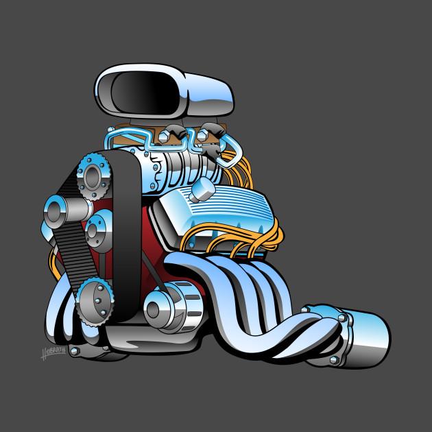 Hot rod race car engine cartoon