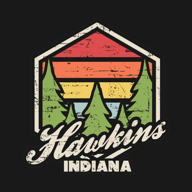 Retro Badge Hawkins Indiana Dark
