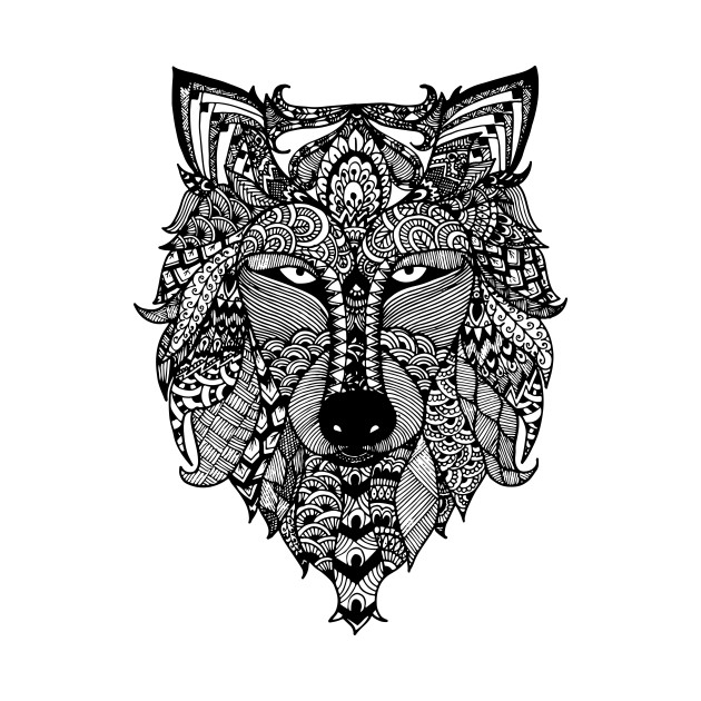 Zentangle Wolf Pen Art T Shirt Teepublic