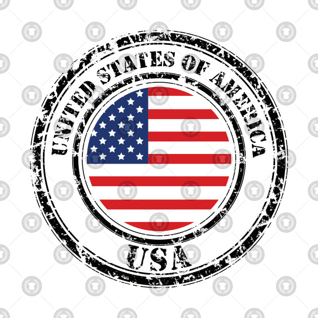 American Flag Grunge On Button Stamp