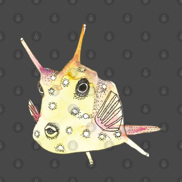 Watercolor Yellow Longhorn Cowfish (Horned Boxfish)