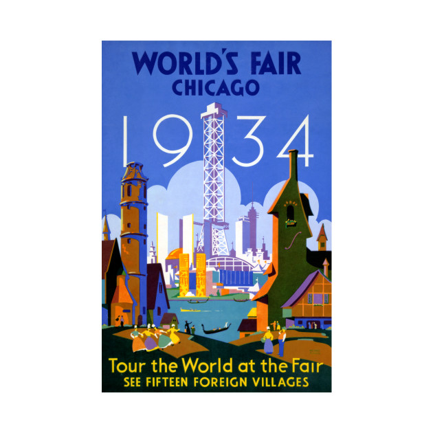Vintage Travel Poster USA Chicago World's Fair 1934