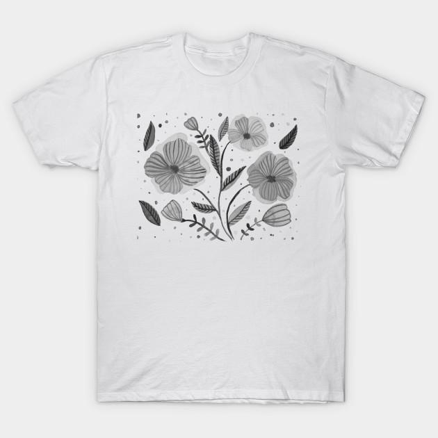 Black and white watercolor flowers watercolors t shirt teepublic 2035619 1 mightylinksfo