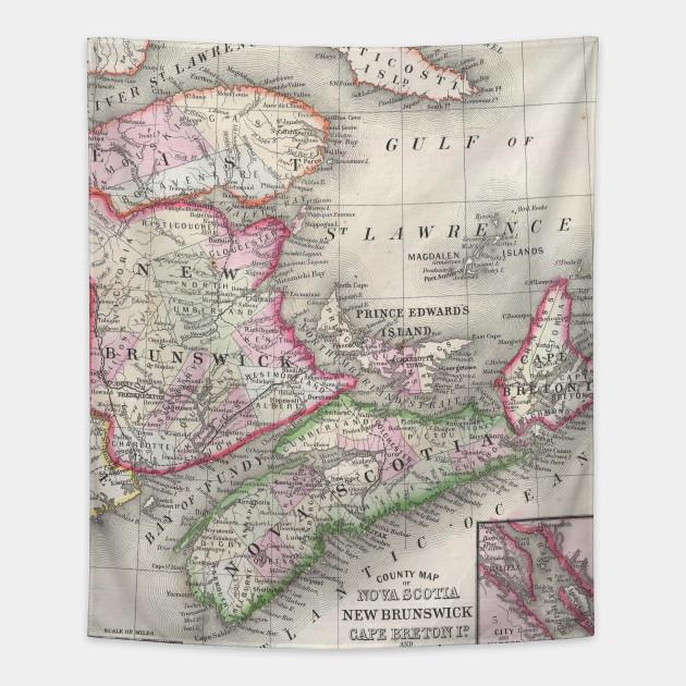 Vintage Nova Scotia And New Brunswick Map 1866