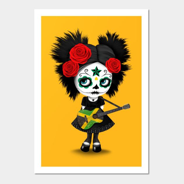 Sugar Skull Girl Playing Jamaican Flag Guitar - Cute Zombie Girl ...
