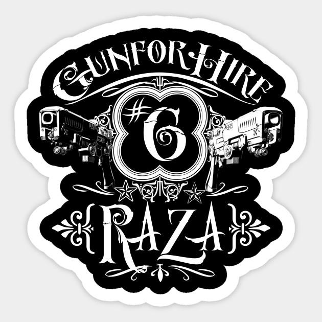 Raza Gun For Hire 6 Dark Matter Sticker Teepublic