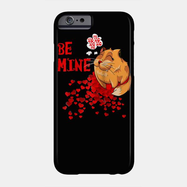 Be Mine Valentine Cat and Hearts Raglan Baseball Tee Phone Case