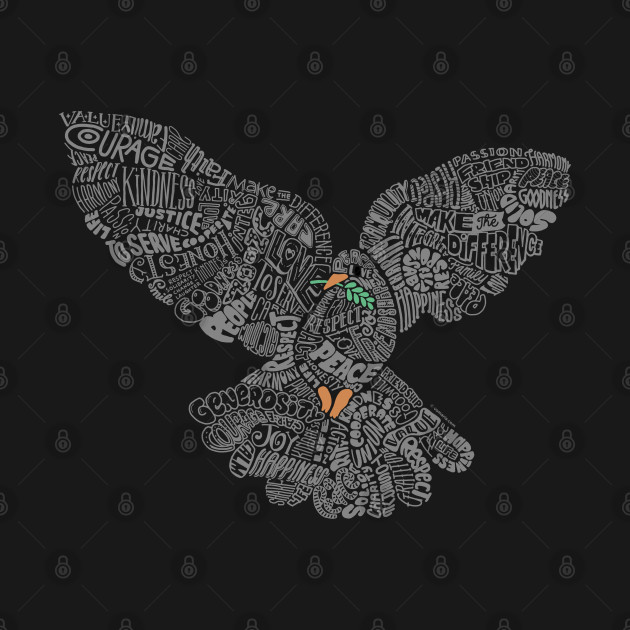 Typographic Peace Dove (black)