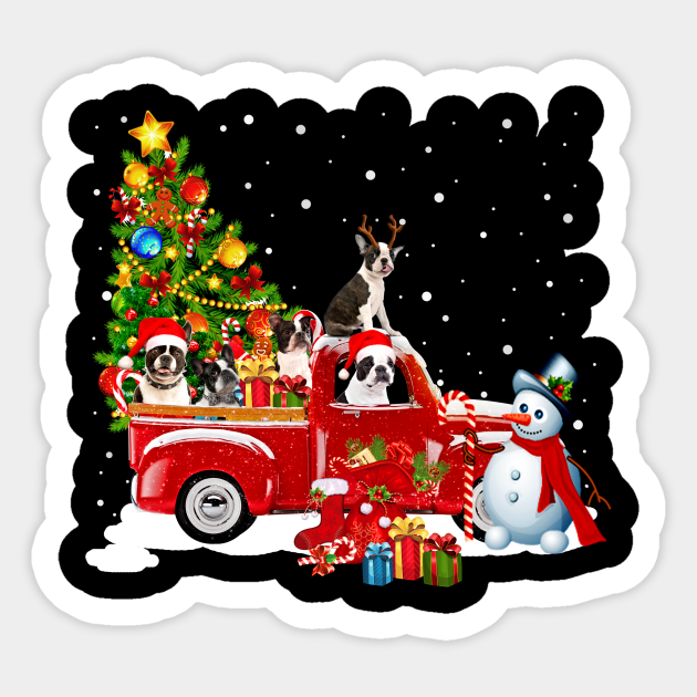 Terrier Dog Christmas On Red Car Truck with Xmas T-Shirt