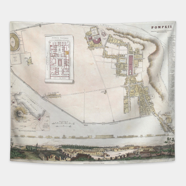 Where Is Pompeii On A Map Of Italy.Vintage Map Of Pompeii Italy 1832