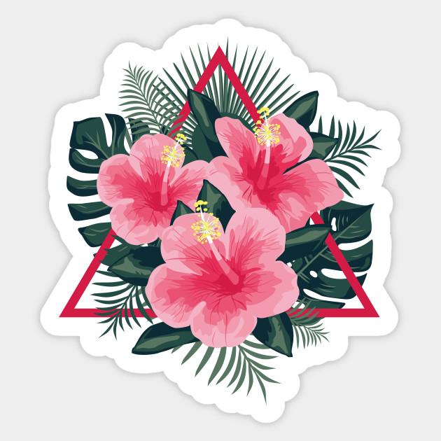 Tropical Flowers Pink Hibiscus Flowers Sticker Teepublic