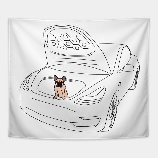 French Bull Dog Puppy in a Tesla Model 3 Frunk